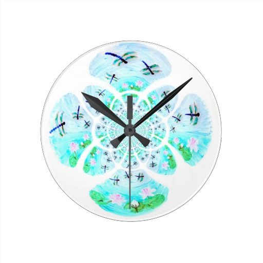 Dragonflies, Lily Flowers pattern Wallclock