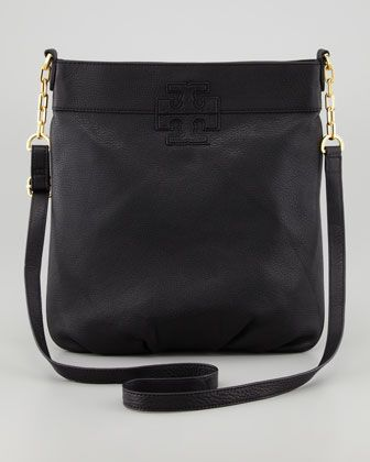 Stacked-T Crossbody Book Bag, Black by Tory Burch at Neiman Marcus ...