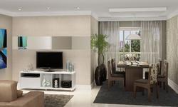 Sala de Estar Conjugada com Sala de Jantar com Rack, Mesa e 6 Cadeiras Branco/Chocolate/Preto/Floral - Caaza | Lojas KD