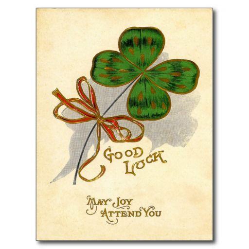 vintage st patrick's day images | vintage_four_leaf_clover_st_patricks_day_card_postcard ...