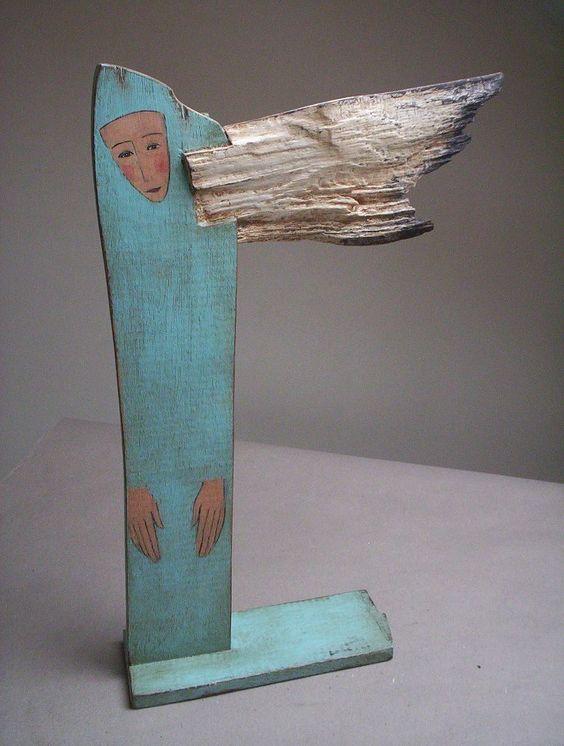 Sculpture ange en bois, magnifique Popielnik - rustykalne dekoracje wnętrza