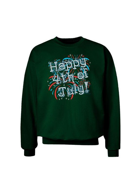 TooLoud Happy 4th of July - Fireworks Design Adult Dark Sweatshirt