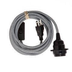 Pendant Light Cord (grounded plug) - Black & White ZigZag