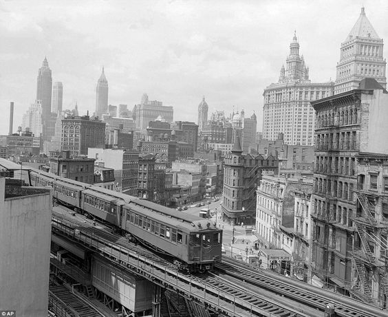 The Third Avenue elevated train rumbles across lower Manhattan in this undated photo. City Hall can be seen in the background