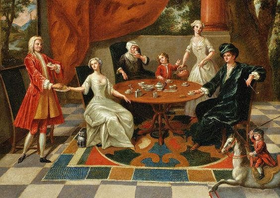 """Gawen Hamilton (British artist, 1692-1737) An elegant family at tea 18C American Women: A brief history of tea in England & her colonies leading to American """"Tea Parties"""""""