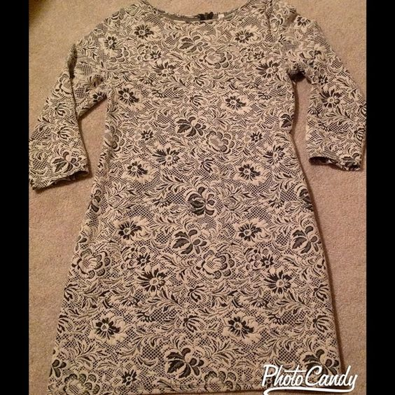 ▫️Lace Pattern Mini Dress or Tunic▫️ Lace patterned tunic or mini fitted dress in gray and ivory. Zipper on back and elbow length sleeves. No tags but never worn. Would be adorable paired with tights or leggings! Xhilaration Dresses Mini