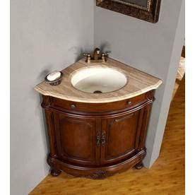 Silkroad Exclusive 32 In Cherry Undermount Single Sink Bathroom Vanity With Travertine Top Lowes Com Corner Sink Bathroom Corner Bathroom Vanity Single Sink Bathroom Vanity