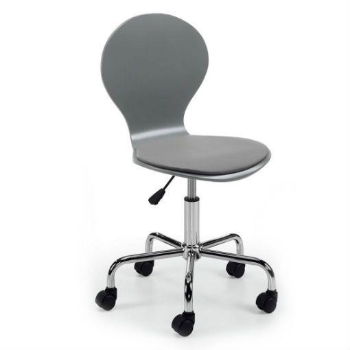 Silla oficina Jazz gris con ruedas y altura regulable. Madera contrachapada y asiento acolchado en polipiel. Pie giratorio metálico cromado.