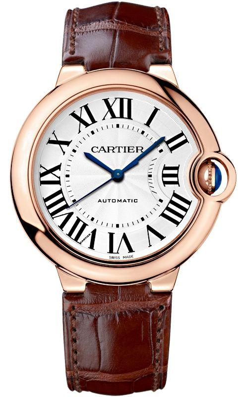Wgbb0009 Cartier Ballon Bleu 36mm Brown Leather Pink Gold Watch