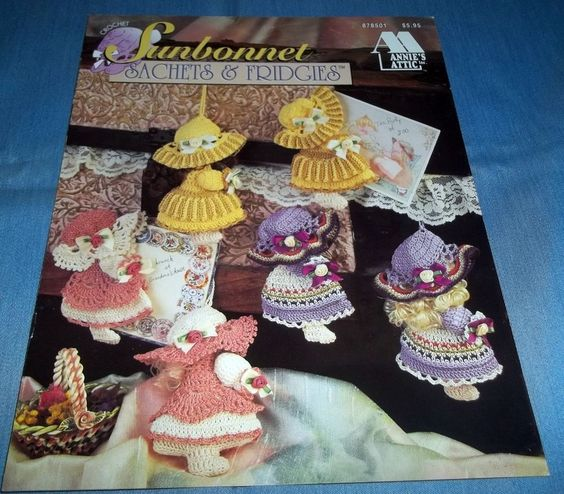 Annies Attic Sunbonnet Sachets & Fridgies Crochet Pattern Book 87850...