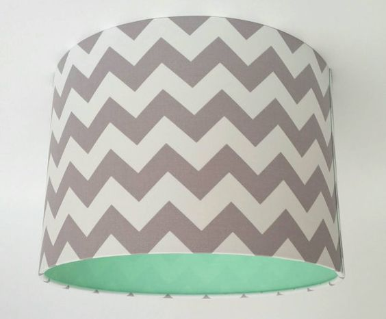 Grey Chevron Lampshade Lined with Mint Cotton