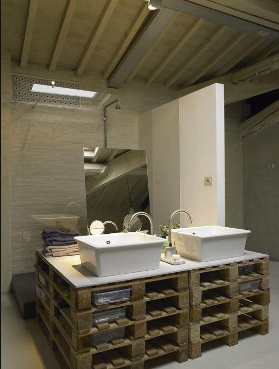 salle de bains palettes achitecte Marco Baldini