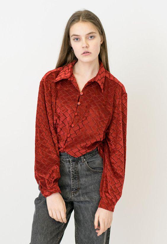 VINTAGE Red Checked Velvet Retro Blouse  Shirt