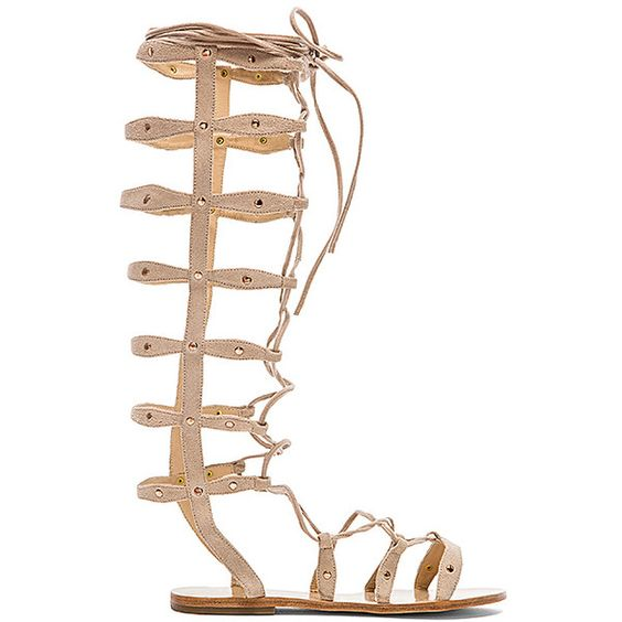 RAYE Shanna Gladiator Sandal ($185) ❤ liked on Polyvore featuring shoes, sandals, lace up gladiator sandals, roman sandals, leather sole shoes, studded shoes and flat gladiator sandals