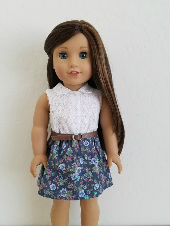 Collared Lace and Floral Dress for American Girl Dolls ...