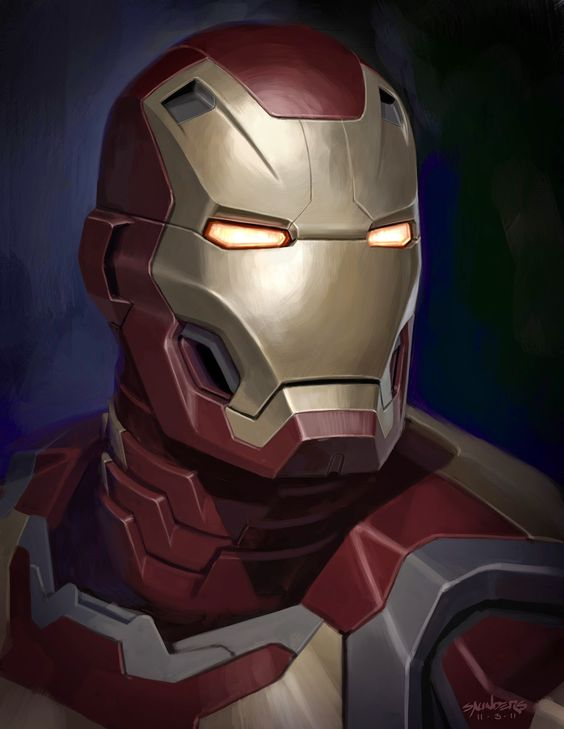 Iron Man Mk 42 close up concept by Phil Saunders