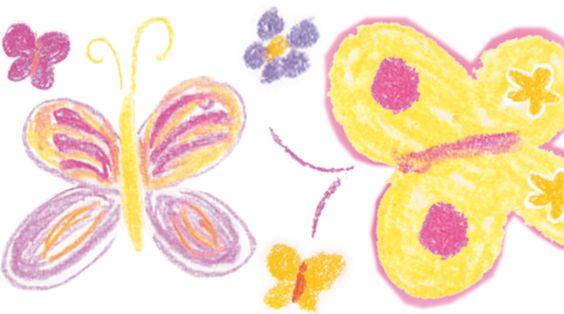 Wandtattoo: Schmetterlinge • mit Pastellkreide gezeichnet • Mein Bordürenladen - Dawanda • www.meinborduerenladen.de
