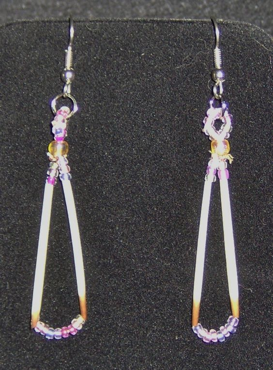 Earrings / Porcupine quill and beads / porky will never miss them!  $6.50