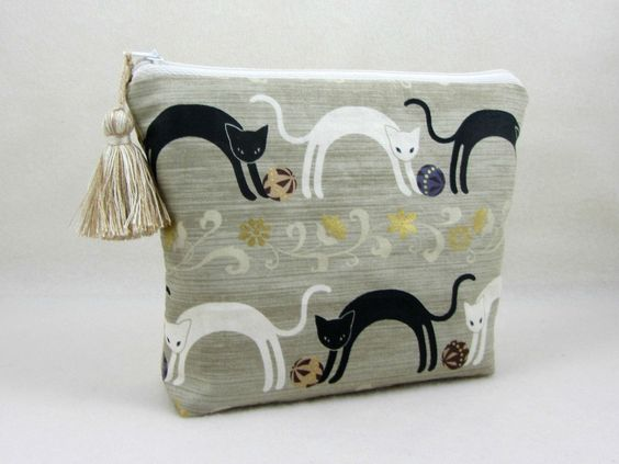Cosmetic case, toiletry bag, cotton cat pouch, cosmetic organiser, makeup bag, womens zipper pouch by JRsbags on Etsy