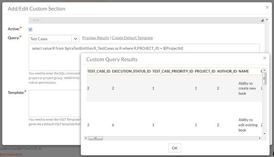 Reporting Test Management Features SpiraTest SpiraTest - test case template