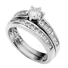 925 Sterling Silver Wedding Ring Set CZ Round Cut Engagement Size 8 New z25
