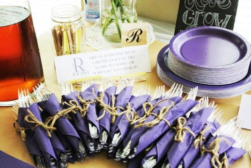 I can wrap utensils like this but with blue or coral napkins