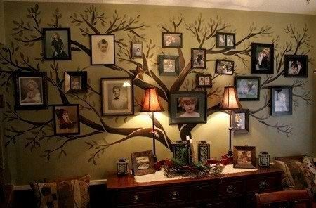 Family pictures hung on a painted tree on the wall. Neat idea!