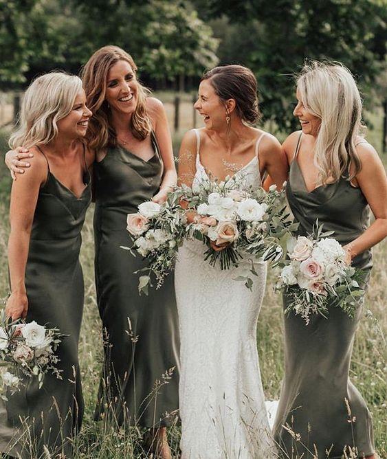 Sage Spaghetti Strap Draped Neck Satin Bridesmaid Dress Weddings Bridesmaid Dresses Olive Green Bridesmaid Dresses Green Bridesmaid Dresses Green Bridesmaid