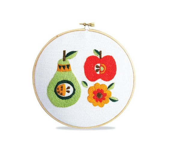 Kitschy Fruit Crewel Embroidery Pattern