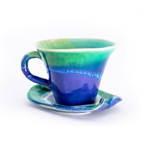 tea cup pottery stoneware - blue turquoise: