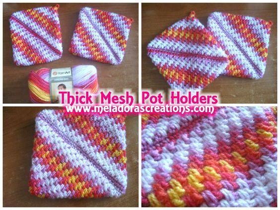 Thick Mesh Pot Holders - Free Crochet Pattern - Meladoras Creations Kn...