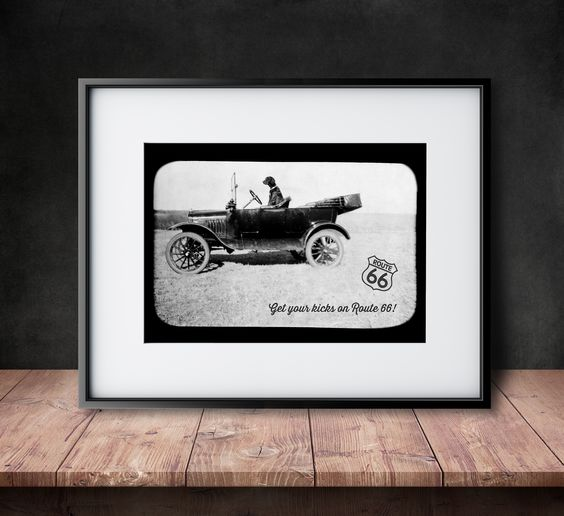 Get Your Kicks on Rt 66 - Vintage Photographic Reproduction
