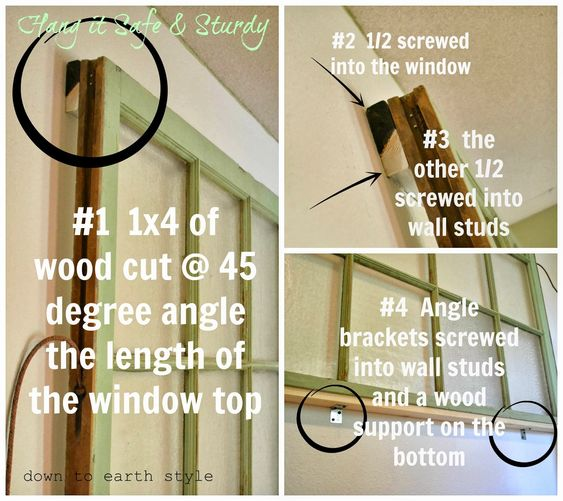 DIY:  How to Secure a Heavy Object to the Wall - via Down to Earth Style: Old Window Headboard
