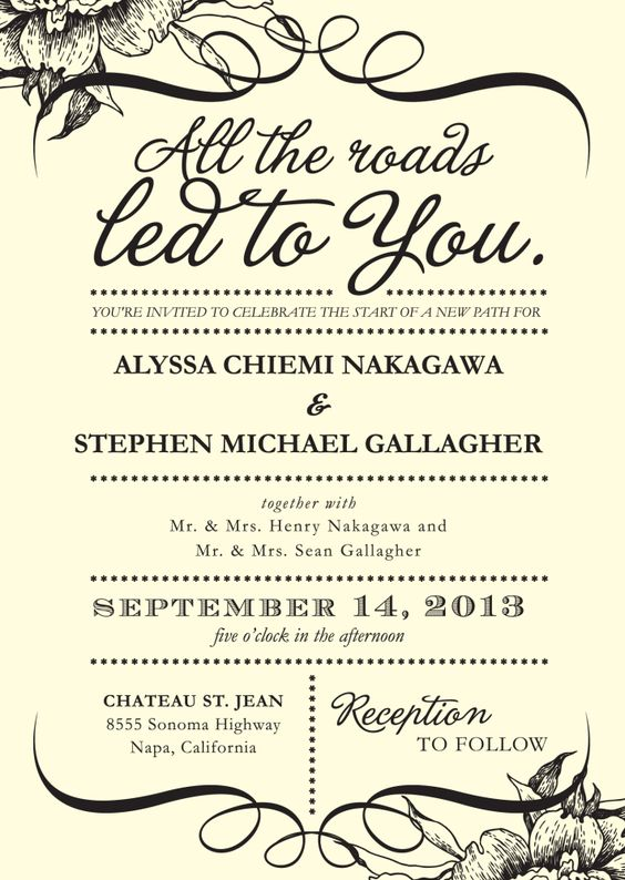 all the roads lead to you you are invited to celebrate the start of a new path for.....couple together with.....and.....parents