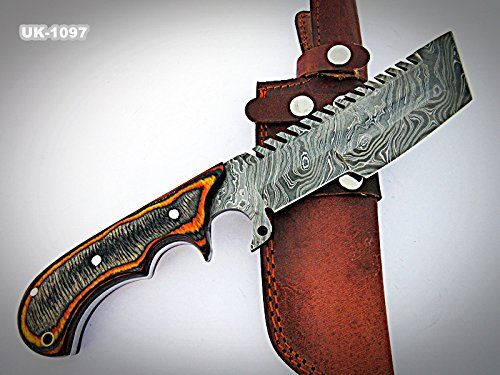 Poshland Knives Tr 1097 Custom Handmade Demascus Stell Tracker Knife Two Tone Dollar Sheath Handle In 2020 Leather Sheath Best Trail Running Shoes Solar Panels For Home