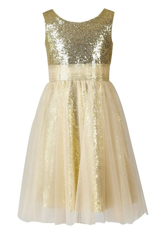 Thstylee Gold Sequin Tulle Flower Girl Dress Junior Bridesmaid Dress Kids Formal Dress US Size 10 Gold
