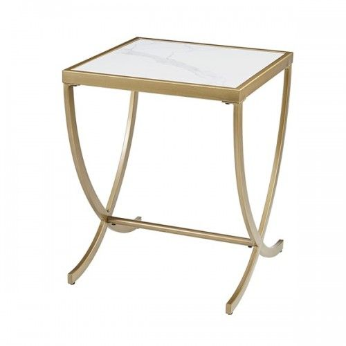 White Square Top Antique Gold Side End Table With Images