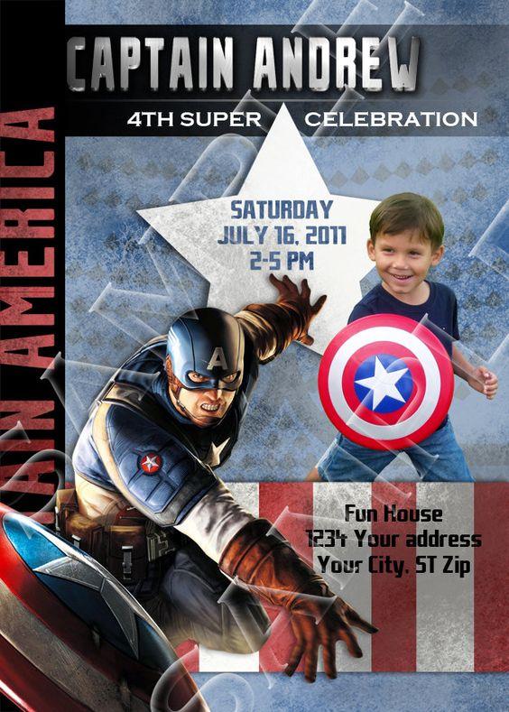 Printable CAPTAIN AMERICA Birthday Invitations | Noah's Birthday ...