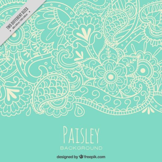 naturaleza bocetos del modelo de Paisley Vector Gratis