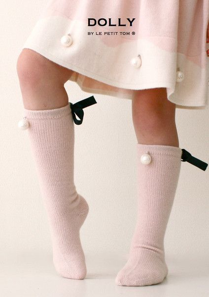 DOLLY by Le Petit Tom ® PEARLED HIGH KNEE SOCKS light pink
