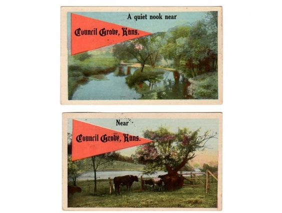 Council Grove Kansas Pennant Postcards (2), Souvenir Post Cards, Old Correspondence, A Quiet Nook Cattle 1920 Postmark, Mildred Jorn, Verdon by vintagebarrel on Etsy