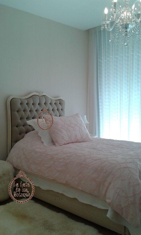 Dormitorio romantico. Realizado por lalatadelosbotones.blogspot.com