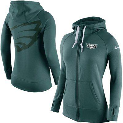 Women's Philadelphia Eagles Nike Midnight Green Warpspeed All Time Full-Zip Performance Hoodie