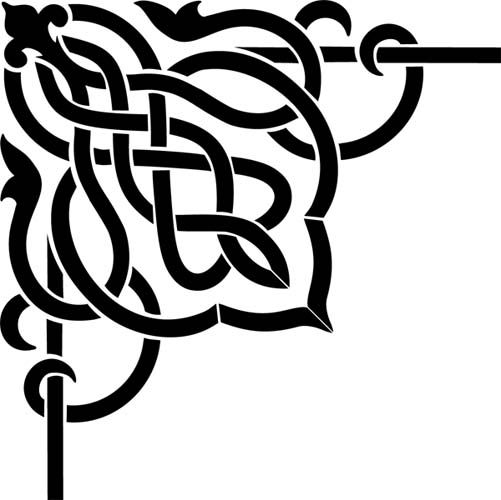 Corner Scroll Designs: Celtic Scroll Corner Wall Stencil