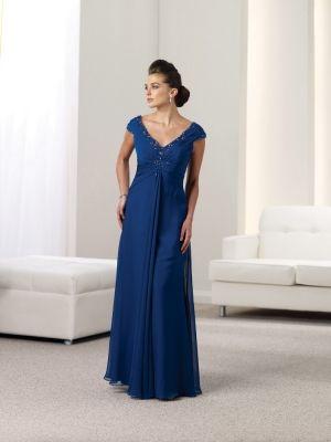 A-line V-neck Chiffon Floor-length Beading Mother of the Bride Dresses