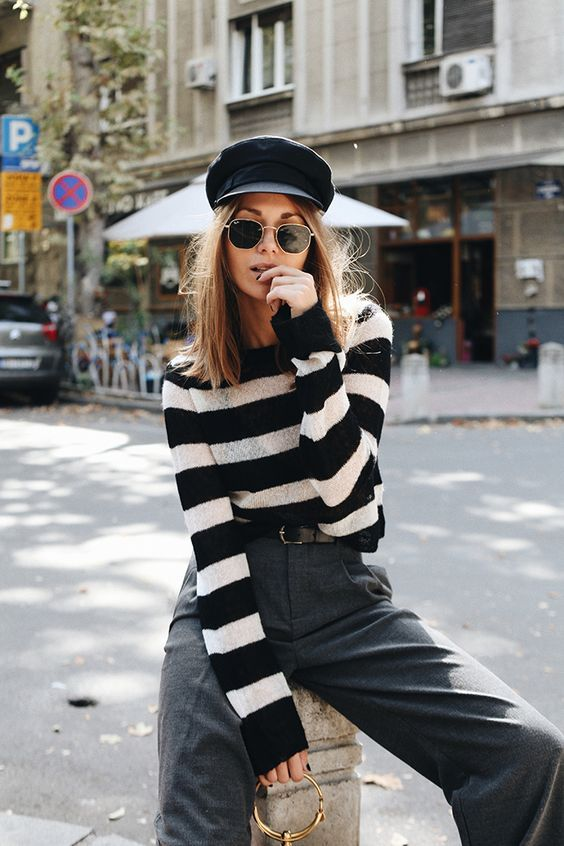 June 2018 street style. Stripes, tailored pants & cap