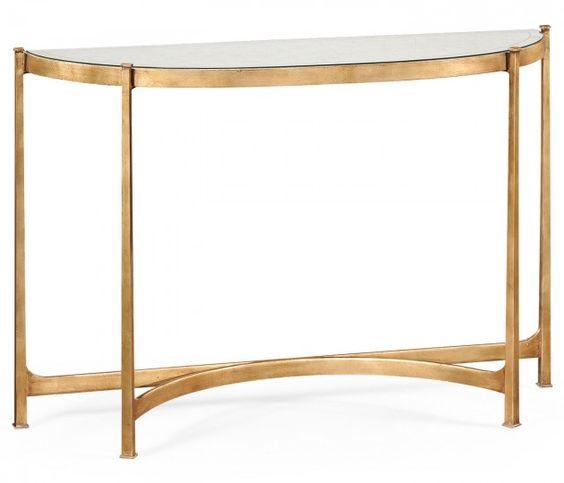 Églomisé & gilt iron demilune console table (Large) AVAILABLE IN BRONZE