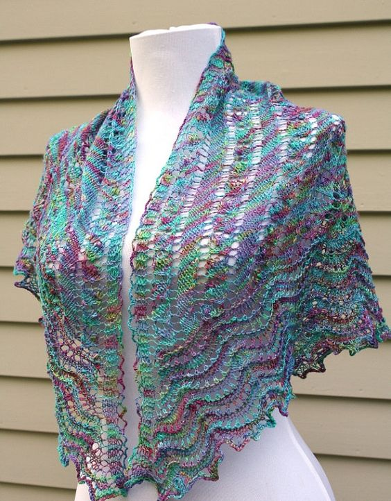 Lace shawl Triangular Bamboo Handpainted yarn by AllKnittedLace