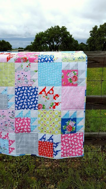 Scrappy Bear Paw Quilt made with Elea Lutz' Strawberry Biscuit fabric line #iloverileyblake  #fabricismyfun