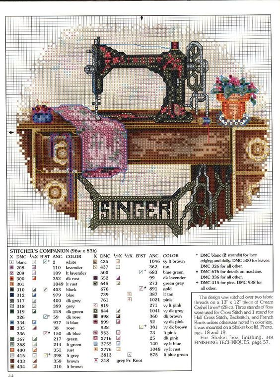 Stitcher's Companion.  Schematic cross stitch Singer-a1